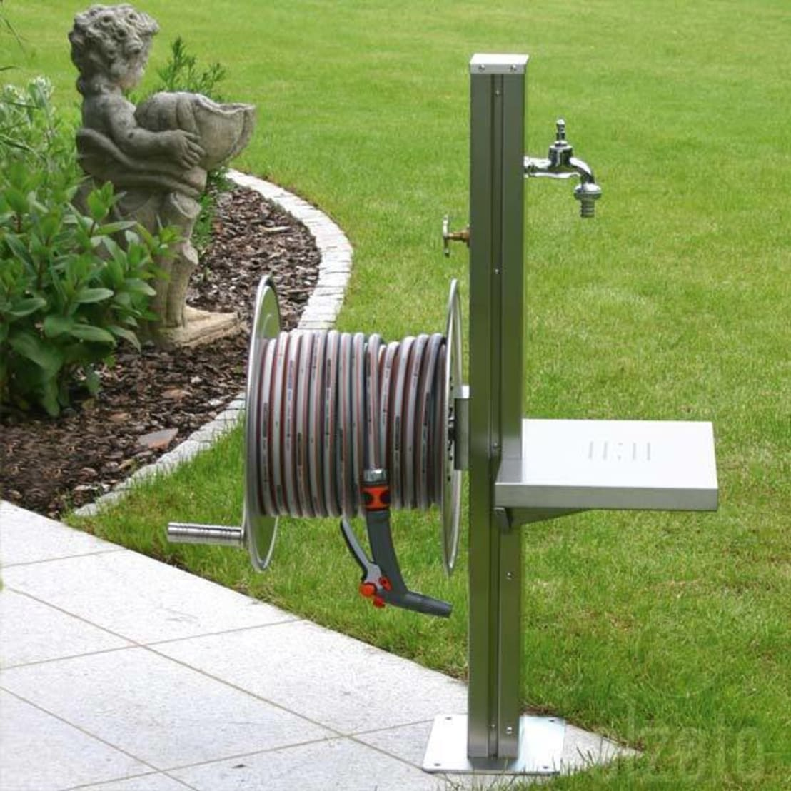 Stainless Steel Garden Tap Station With Hose Reel, Tap And