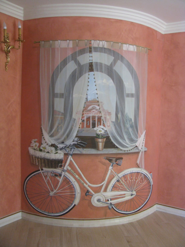 Trompe l 39 oeil con finta finestra e bicicletta di cinzia perino art homify - Trompe l oeil finestra ...