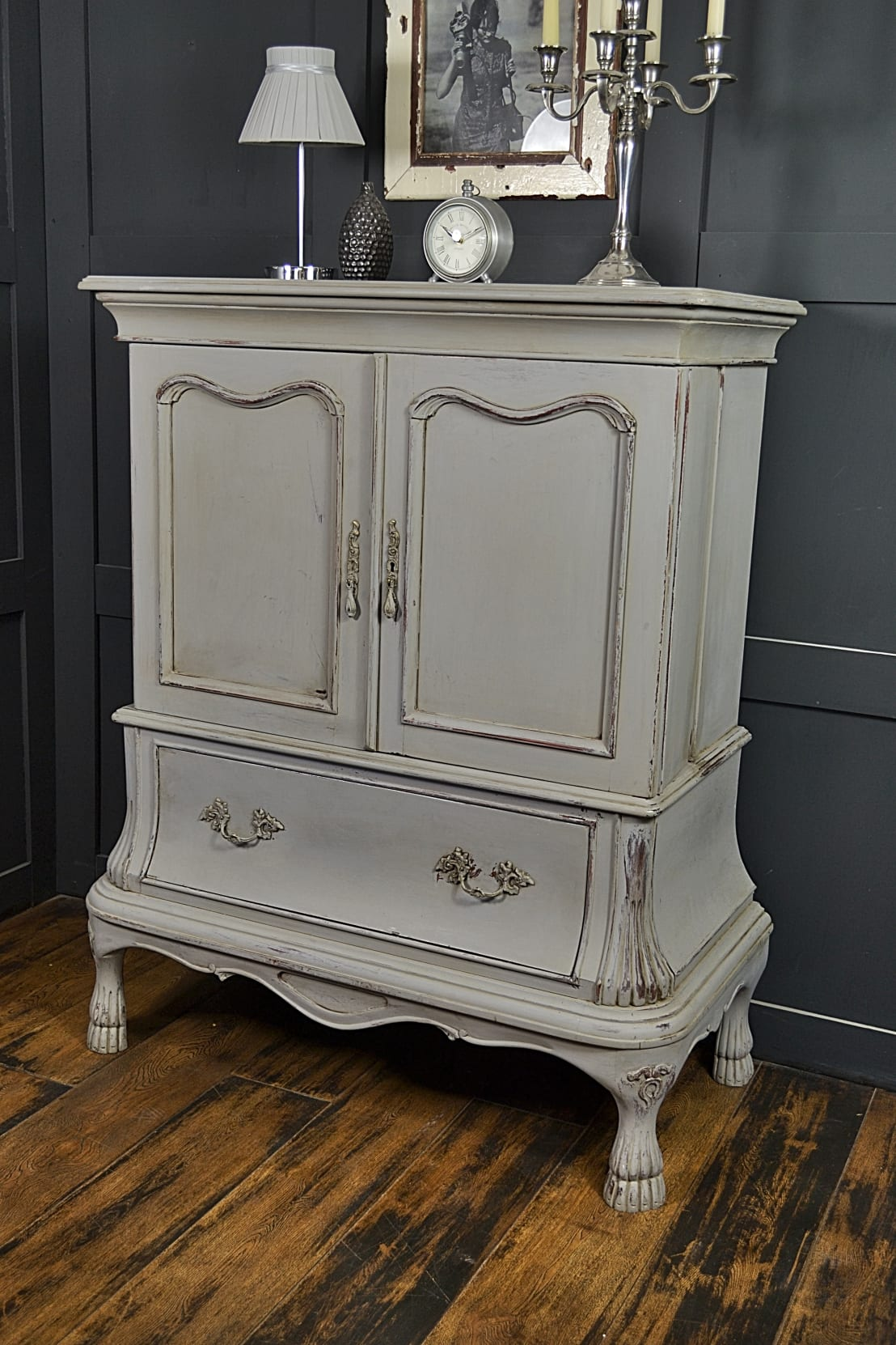 paris grey shabby chic french drinks cabinet by the treasure trove shabby chic vintage. Black Bedroom Furniture Sets. Home Design Ideas