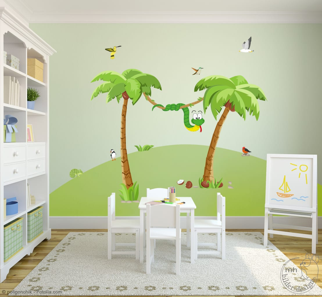 wandtattoos dschungel im kinderzimmer von mhbilder design homify. Black Bedroom Furniture Sets. Home Design Ideas
