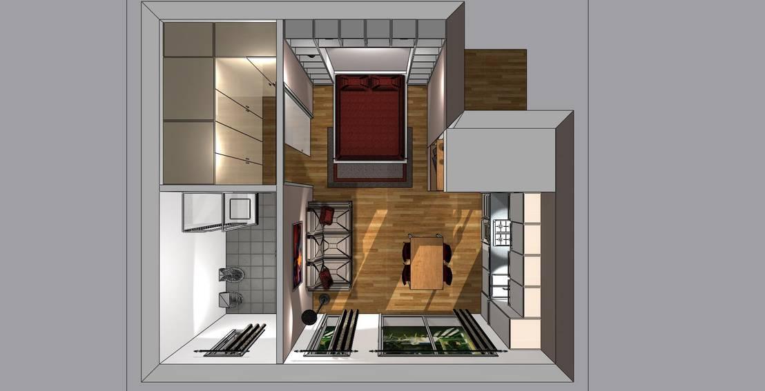 Arredo monolocale por bludiprussia design homify for Arredare monolocale 30 mq