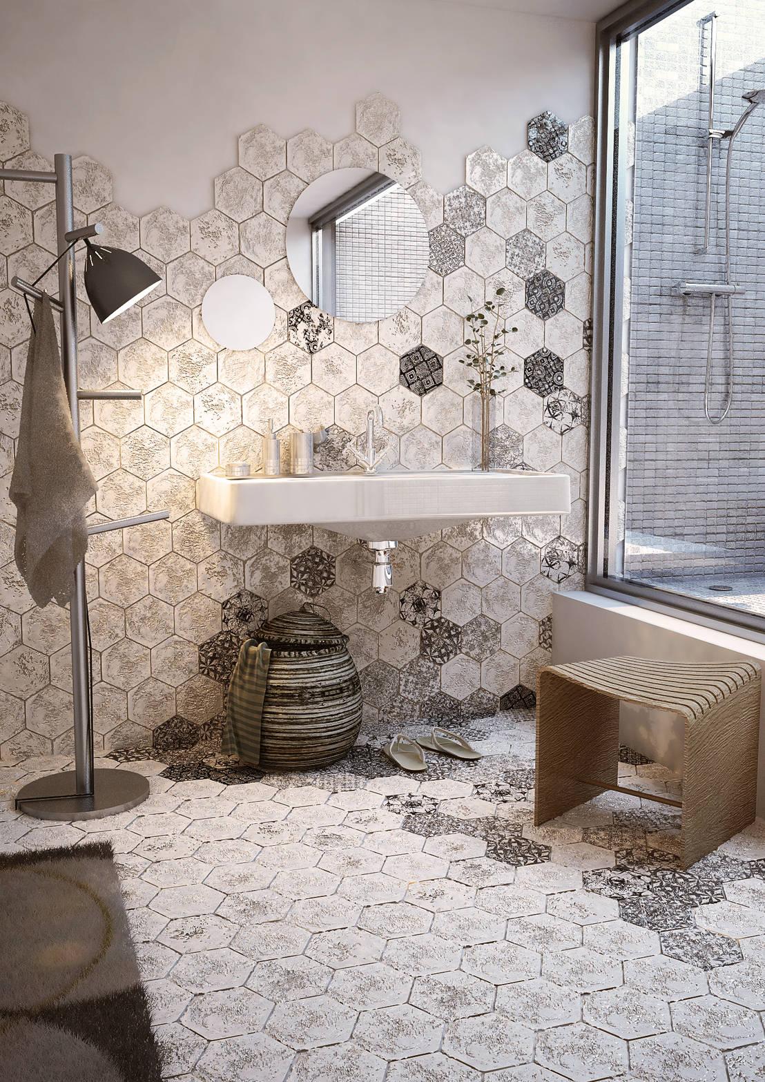 Cotto artistico fatto a mano bianco di l 39 arte del cotto - Piastrelle esagonali bagno ...