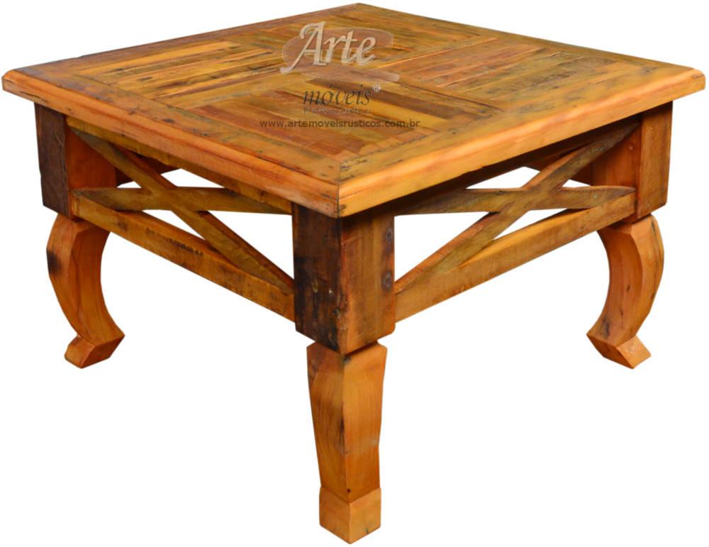 Mesas de centro r stica em madeira de demoli o peroba - Mesas centro rusticas ...
