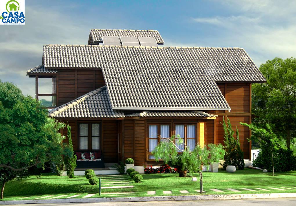 Casas em madeira de casa campo casas pr fabricadas em for Modelos de piscinas de campo