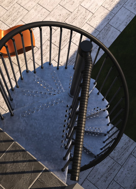 Escaleras para exteriores de zinc de rintal homify for Escaleras de metal exteriores