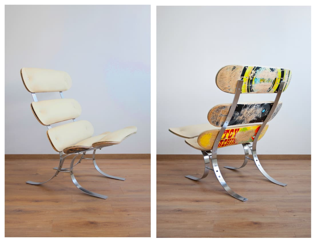 upcycling skateswing skateboard lounge chair von colourform homify. Black Bedroom Furniture Sets. Home Design Ideas
