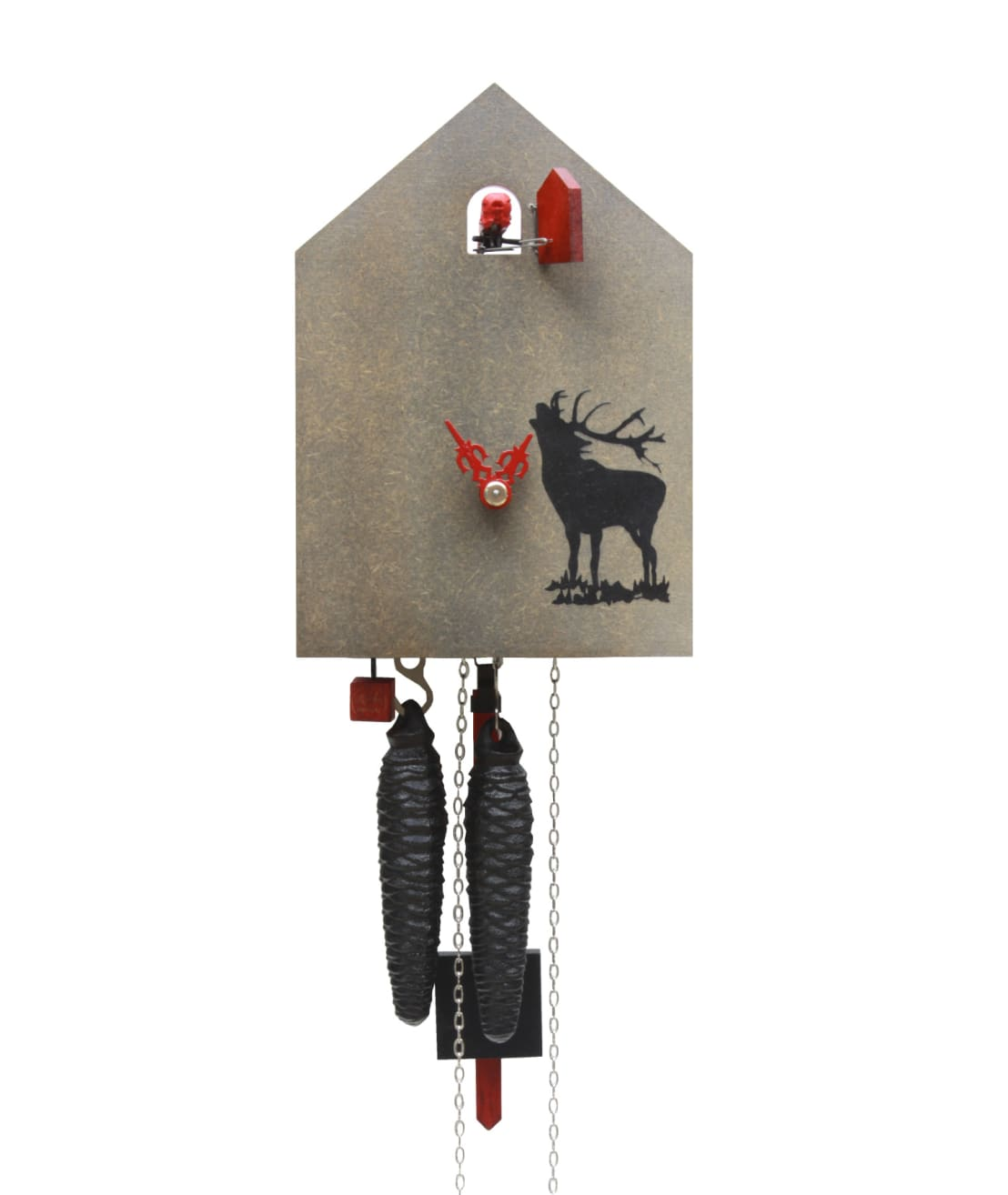 kuckucksuhr modern in grau mit direktem blick auf den kuckuck von rombach und haas por. Black Bedroom Furniture Sets. Home Design Ideas