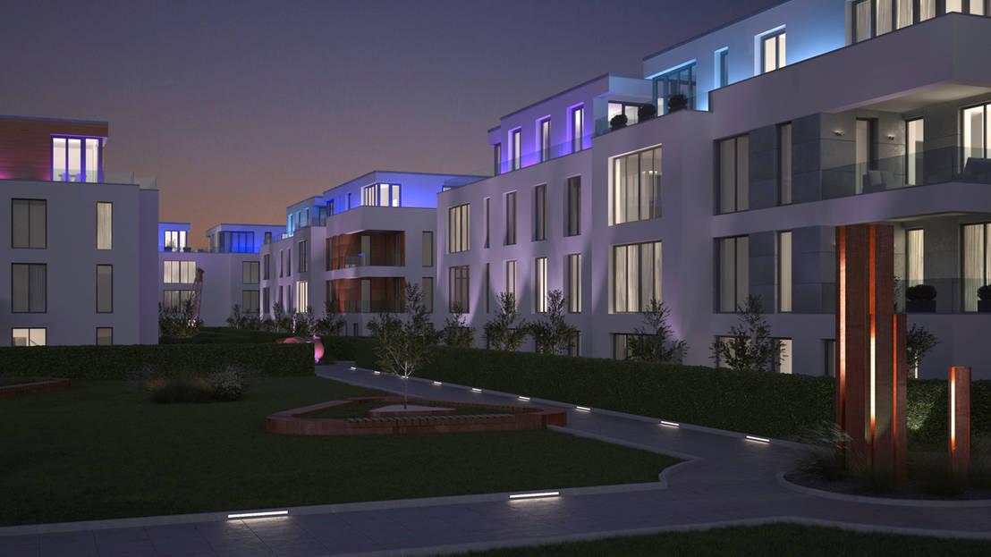 visualisierung eines wohnquartiers bei d sseldorf von beyond reality architekturvisualisierung. Black Bedroom Furniture Sets. Home Design Ideas