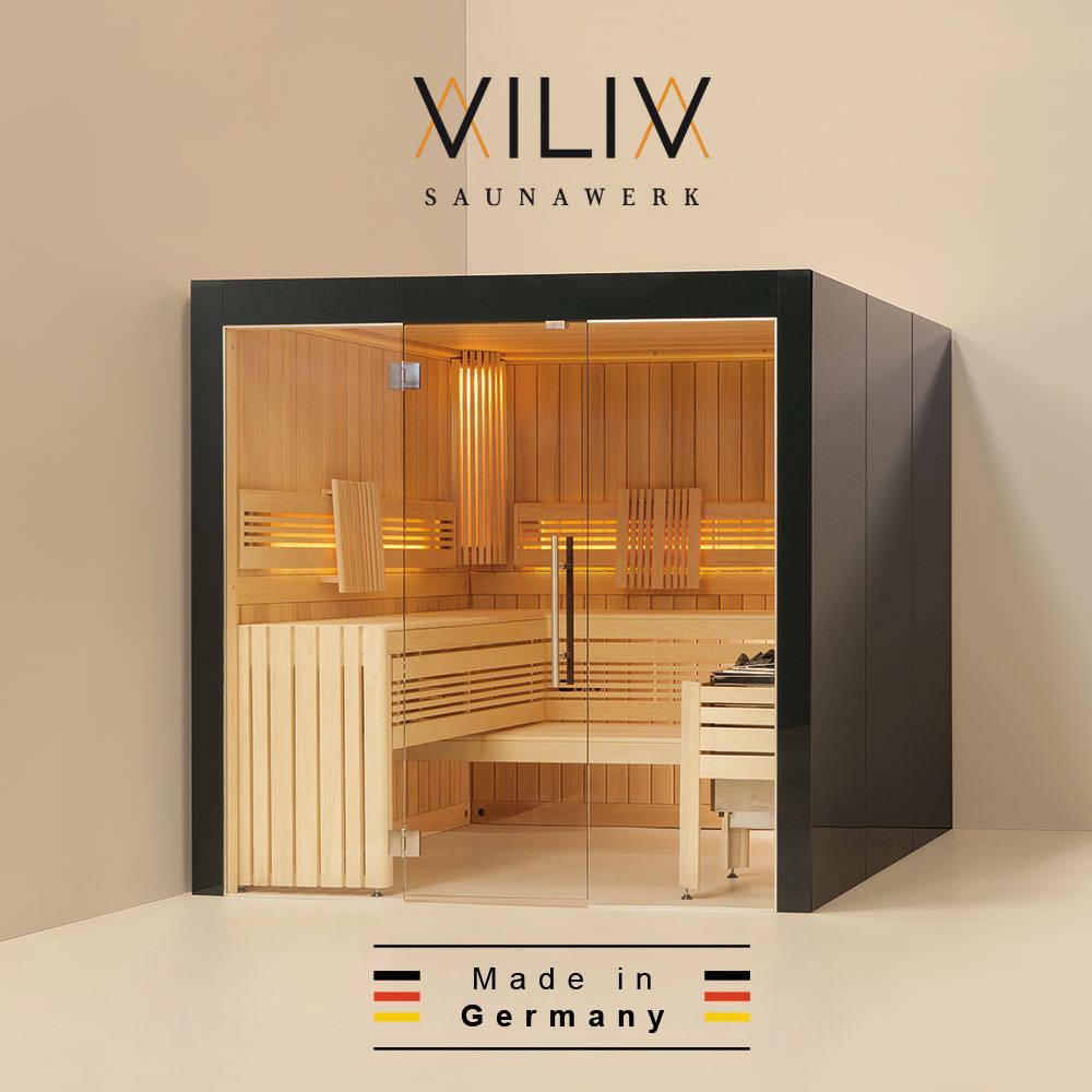 massivholzsauna viliv komfort plus colorglas von relagio. Black Bedroom Furniture Sets. Home Design Ideas