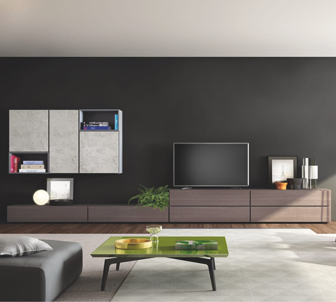 wohnwand in kombination aus beton optik und eiche cenere von homify. Black Bedroom Furniture Sets. Home Design Ideas
