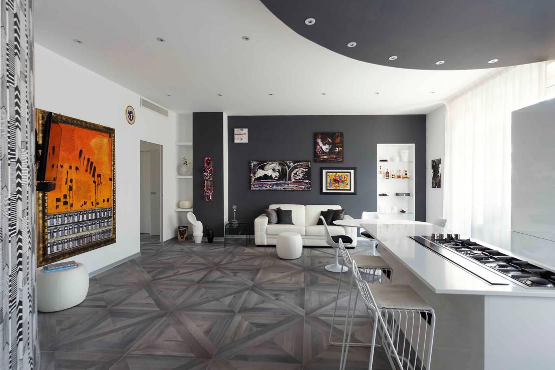 Casa anni 60 trasformata in moderno appartamento con for Cucina open space con pilastri