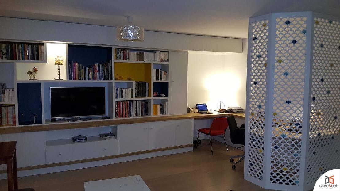 biblioth que avec coin bureau s par par des claustras by allure et bois homify. Black Bedroom Furniture Sets. Home Design Ideas