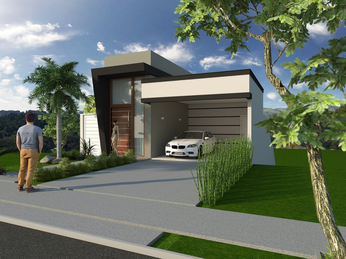Projeto de casa moderna sobrado em terreno 9x20 declive for Casa moderna 10 x 20