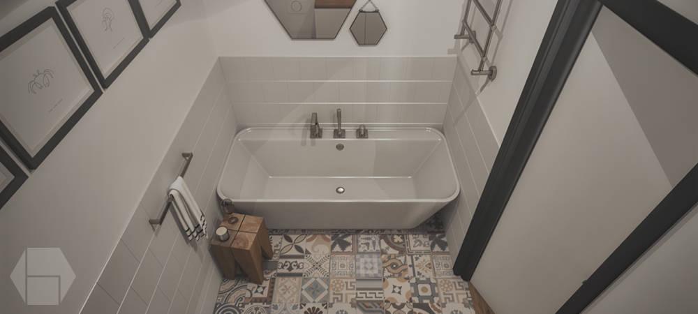 작은 욕실. 규모에 구애받지 않은 욕조 아이디어 13
