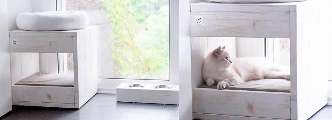 wohnung im clean chic passendes katzenbett und katzennapf von die moderne katze homify. Black Bedroom Furniture Sets. Home Design Ideas