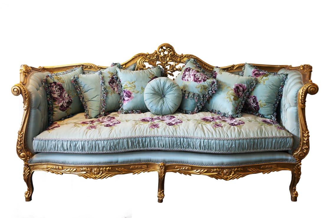 Juliette Louis Xv French Country Silk Tiffany Blue Floral