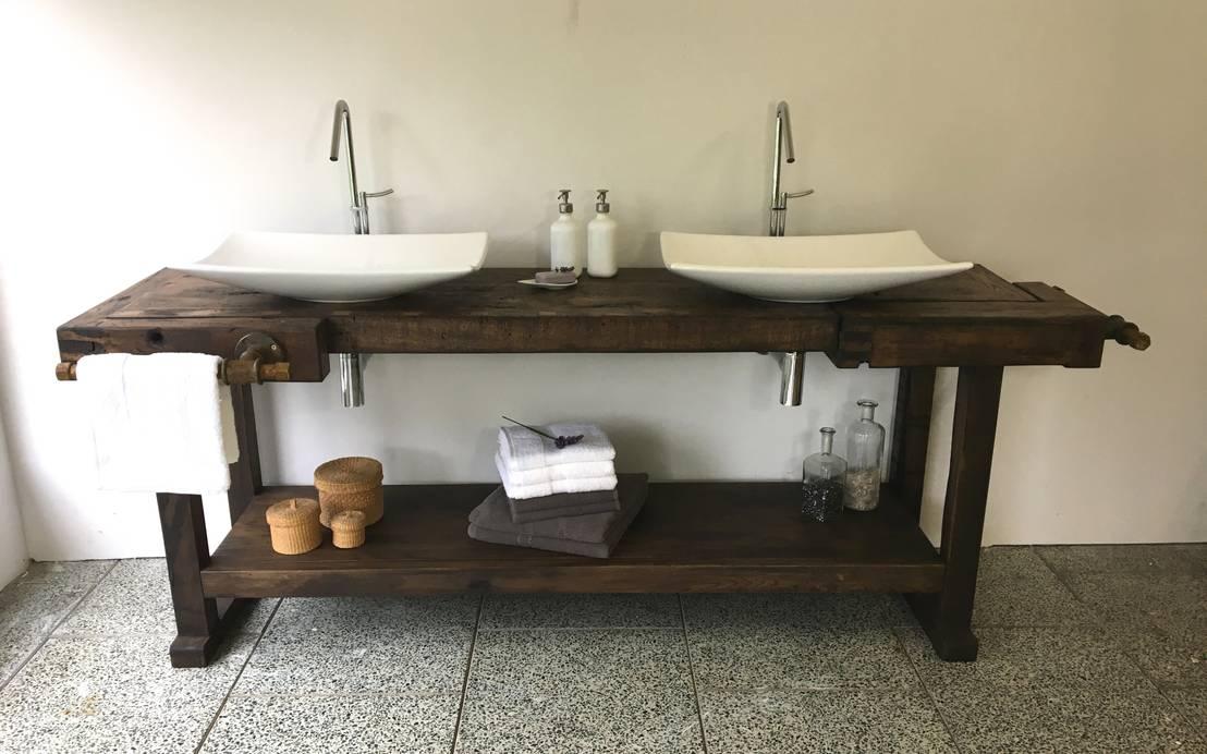 Design doppel waschtisch aus alter hobelbank von s l - Hobelbank wohnzimmer ...