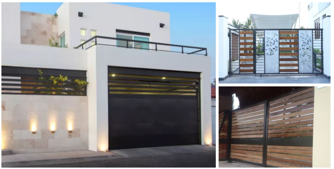 15 puertas y portones para proteger tu fachada con estilo for Fachada de casas modernas con porton