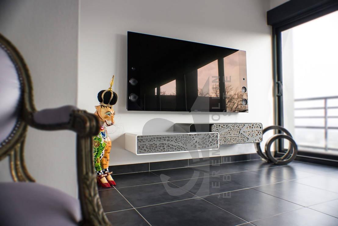 Meuble Corian Sur Mesure meuble tv suspendu corian, acier et bois sur-mesure par