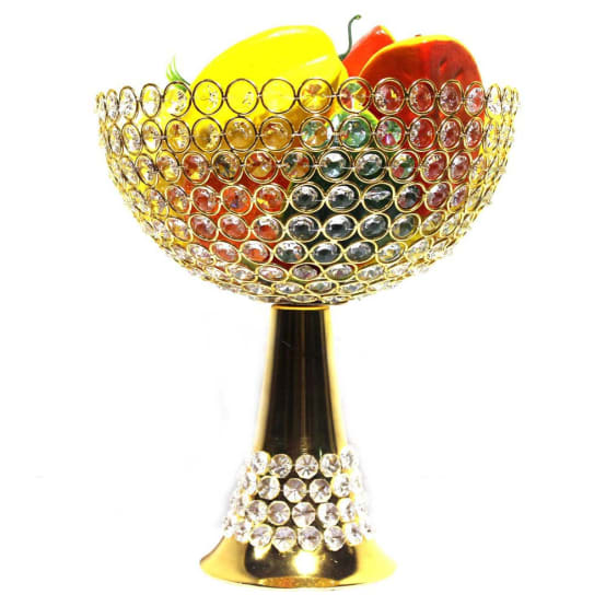 Gold Plated Crystal Fruit Bowl