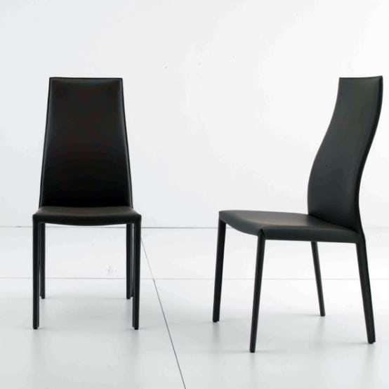 'Marilyn' dining chair in leather upholstery by Compar