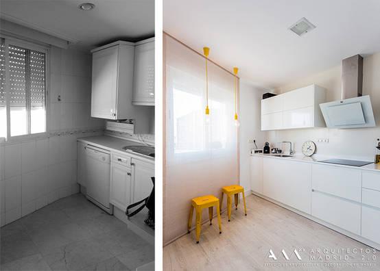 Antes y después en reforma de cocina pequeña
