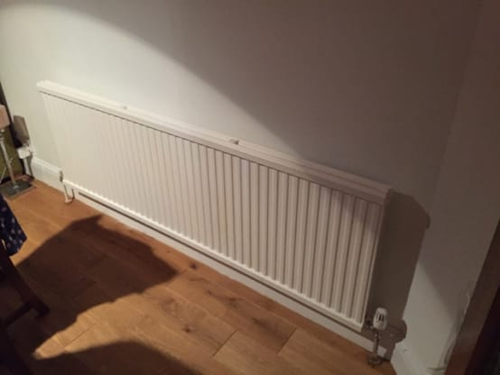 Before photograph prior to  London style radiator covers installed in Maida Vale home