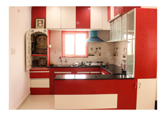 10 pictures of pooja rooms in kitchens for Interior design of kitchen room in india