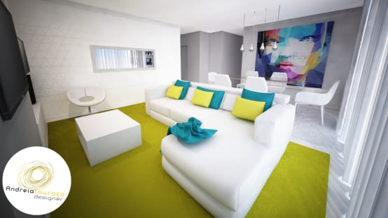Projecto de Decoração Sala, Zona de estar e zona de refeições – by Andreia Louraço Design e Interiores