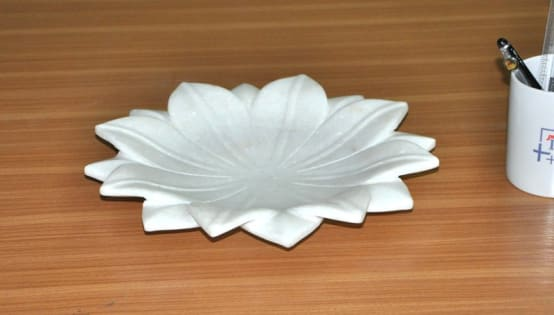 9' White Marble Lotus Leaf  Coffee Table/Dinning Table Decorative Handmade Fruit Bowl