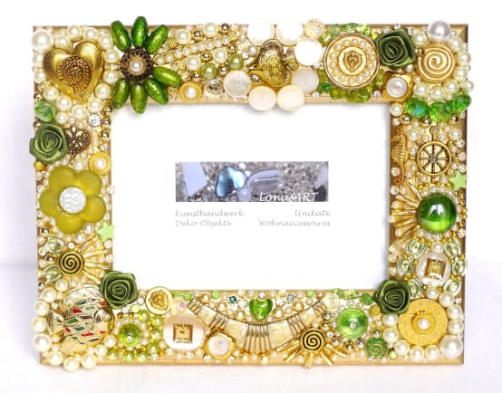 Golden decor, embellished frame