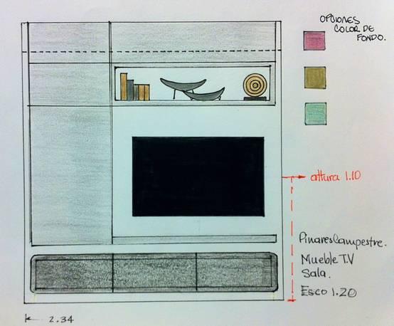 Diseño de Mueble tv Apartamento