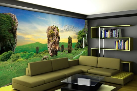Nature wallpaper for living room wall decor using custom wallpaper maker on walls and murals online . Walls and Murals