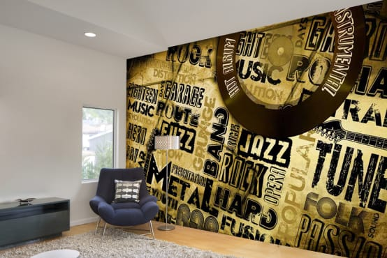 Text graphic wallpaper designs using custom wallpaper maker for modern wall decor ideas. Walls and Murals