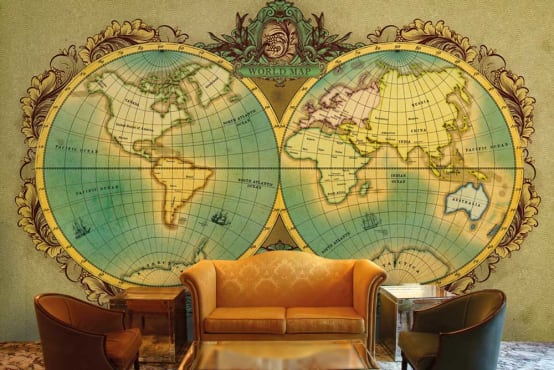 World map wallpaper designs for Office wall decor and custom wall murals for home decor. Walls and Murals