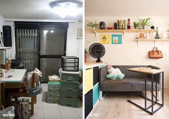 vorher nachher mini wohnung bekommt modernen look. Black Bedroom Furniture Sets. Home Design Ideas