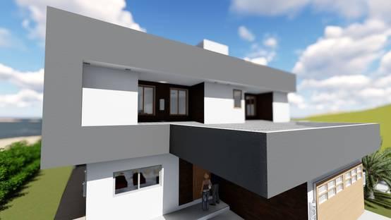 Fachada leste com vista para os quartos