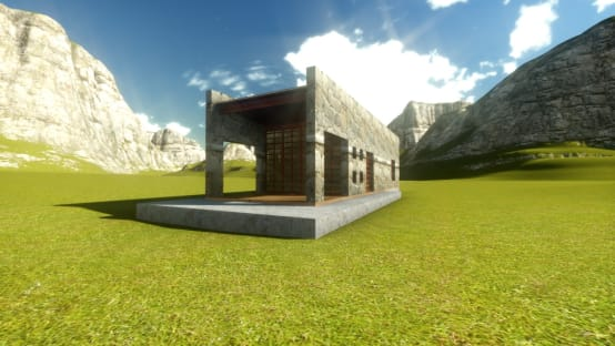 Cabaña de piedra y madera
