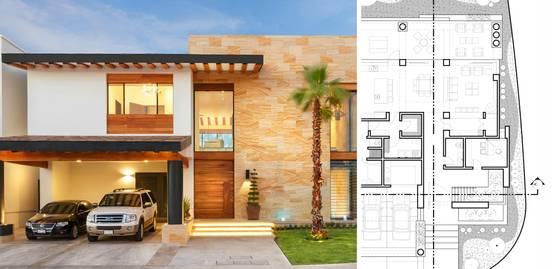 5 casas modernas con sus planos que te inspirar n a for Planos de casas medianas