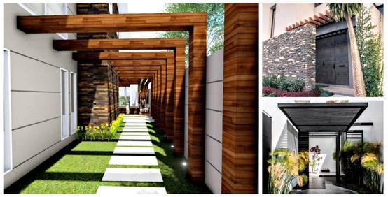 10 p rgolas que har n lucir la entrada de tu casa for Fachadas de casa modernas con pergolas