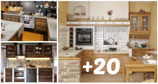 20 cocinas pequeñas con toque rústico que te van a encantar 4a4a380b2608