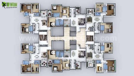 Creative 3D Floor Plan Design of Entire Apartment Floor Developed by Yantram Architectural Animation Studio, Brisbane – Australia