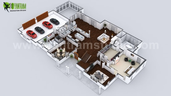 Beautiful Modern 3D Home Virtual Floor Plan Developed by Yantram Architectural and Design Services, London – UK