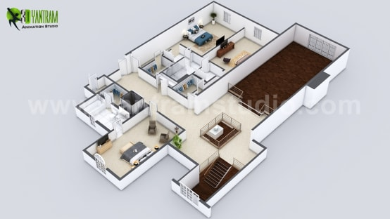 Beautiful Modern 3D Home Virtual Floor Plan Developed by Yantram Architectural and Design Services, London—UK