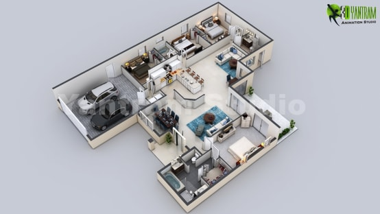 3D Virtual Floor Plan of Luxurious Villa Design by Yantram Architectural Modeling Firm, Chicago—USA