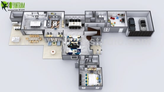 Exclusive New Modern House Virtual Floor Plan By Yantram 3D Animation Studio, Moscow – Russia