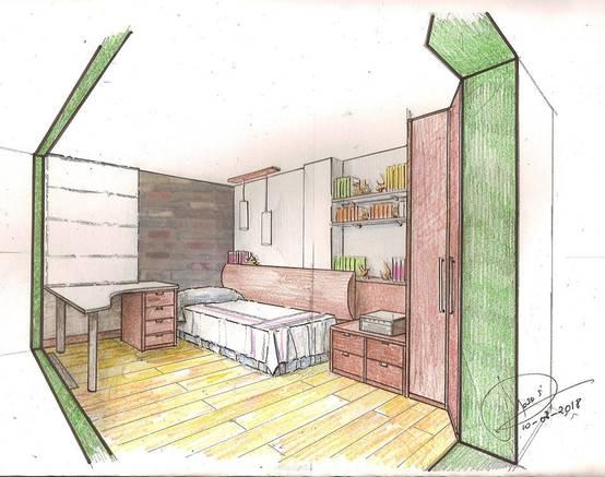 Boceto para habitación pequeña