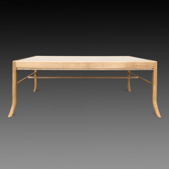 Lavenham coffee table—hessian and oak. Made to order by Perceval Designs