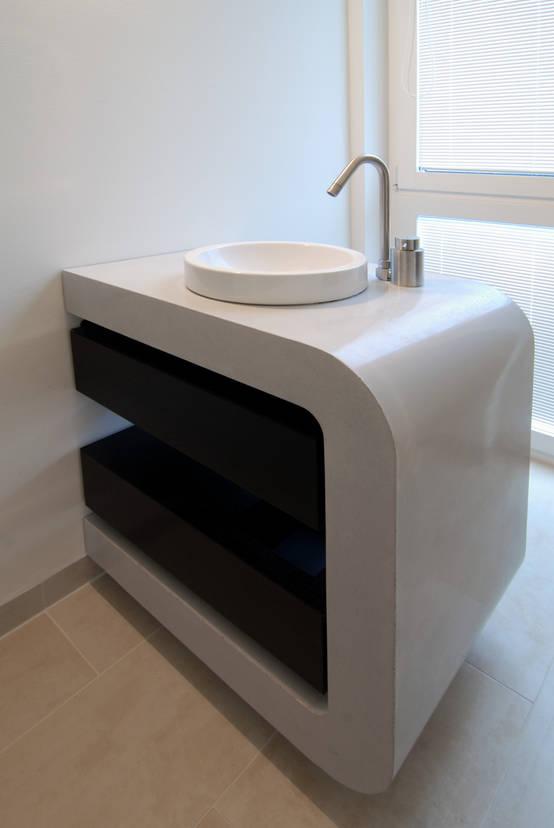 Ein moderner Waschtisch aus Beton und Wengeholz | homify