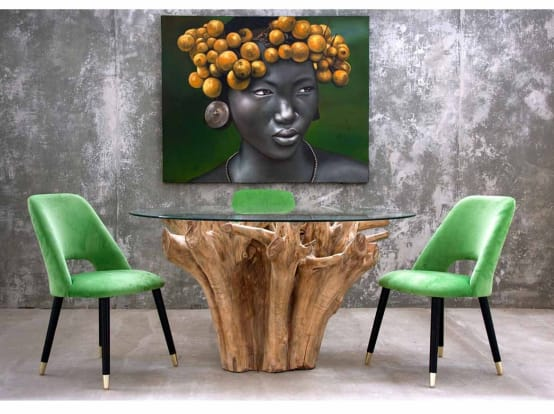 Mesa de jantar de cor natural, estilo étnico, feita em raiz de teka / Dining table in natural color, ethnic style, made in root teka